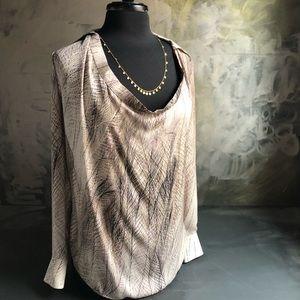 Haute Hippie Silk Feather Print Long Sleeve Blouse